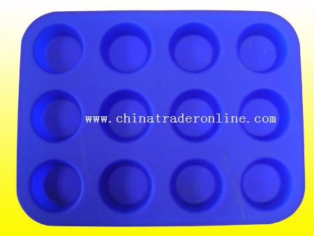 12 Cups Silicone Cake Mould / Silicone Bakeware from China