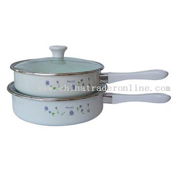 4pc Frying Pan Set with Glass Cover Decor