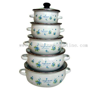 5pc Mini Pot Set with Glass Cover Decor