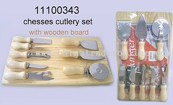 CHEESE CUTLERY SET WITH WOODEN BOARD