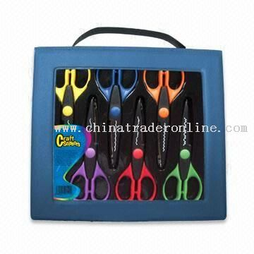 6-piece craft scissors with different cutting designs