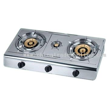 Tabletop Three-Burner Gas Stove with Electronic Ignition