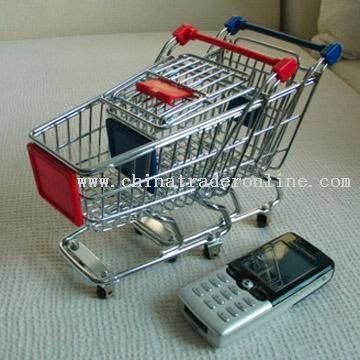 Mini Steel Shopping Cart with Colored Plastic Handle