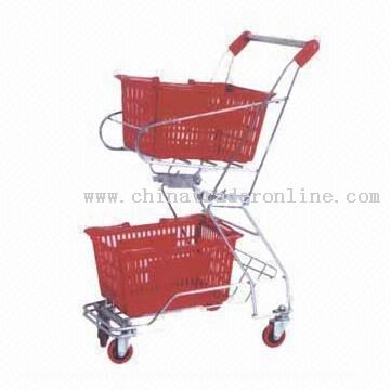cart Shopping Cart with Two Baskets and Chrome-plated Surface