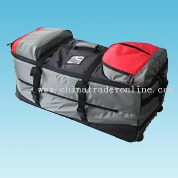 Wheeled Sports Bag with Zippered Top and Side Pockets Available