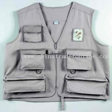 Six-pocket Fly Fishing Vest Made from 100 Percent Water Repellant Cotton Twill