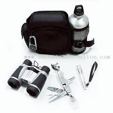 8-in-1 Stainless Steel Camping Tool with Carabiner Compass