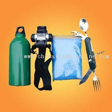 Camping Kit With Aluminum Bottle LED Flashlight Poncho and Hip Pack