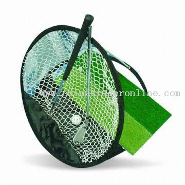 Golf Pop-up Net Training Set with Two Pieces Golf Iron and Grass Mat