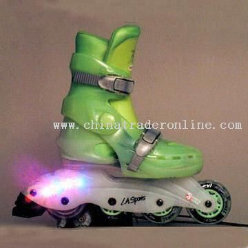 Light-up Inline Skates with Flashing Lights on Chassis and PVC Wheels