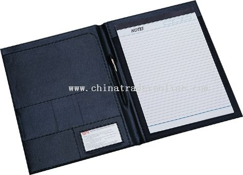 Simple conference folder with multi pockets and writing pad inside