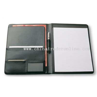 Writing Pad Manufactured in soft-touch leather-look Koskin material with a gun metal badge.