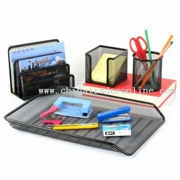 Nine-piece Desktop Office Set in Silver or Black