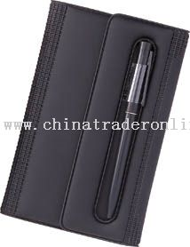 Deluxe organizer with telephone address book, note book, and ball point pen