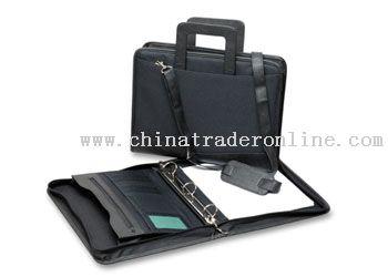 Fabric Zipround Portfolio with slide carry handles