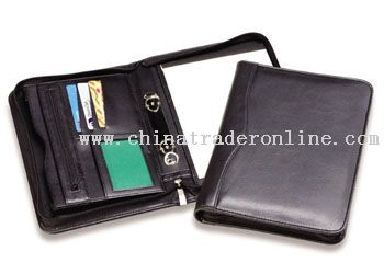 Synthetic leather material A5 zipround folder with fixed ring binder