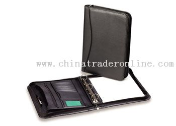 Synthetic leather material zipround conference folder with removable ring fitting and writing pad