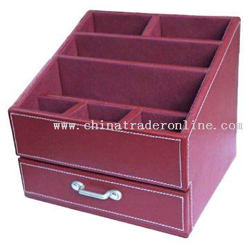 Faux Leather Desktop Organizer