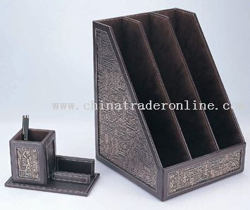 Three Layer Bookshelf And Name Card Standing With Pen Holder From China