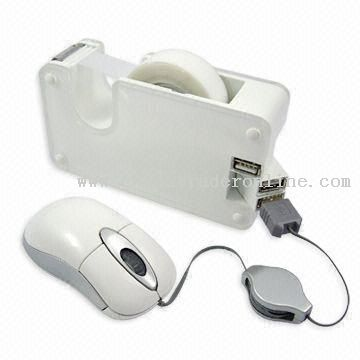 USB Hub with Tape Dispenser and LED Indicator