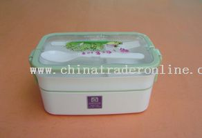 double layers lunch box with double handle