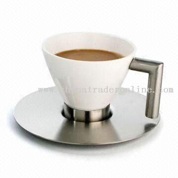 High quality stainless steel and ceramic round cup and saucer