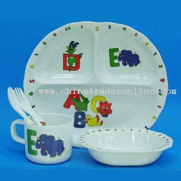 5pcs Kids Melamine Dinner Set wih Cute Paint