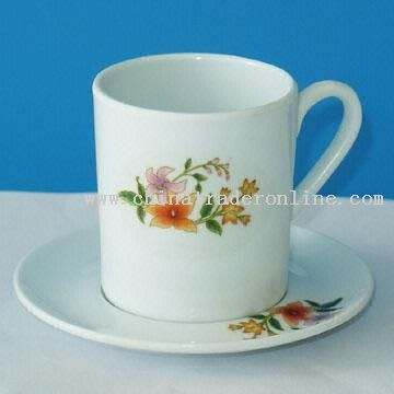 Melamine Cup and Saucer Set with Floral Paint