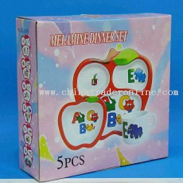 5pcs Apple Kids Dinner Set Made of Melamine