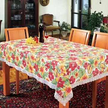 mbossing lace-border tablecloth PVC Tablecloth with Embossing Flannel as Back