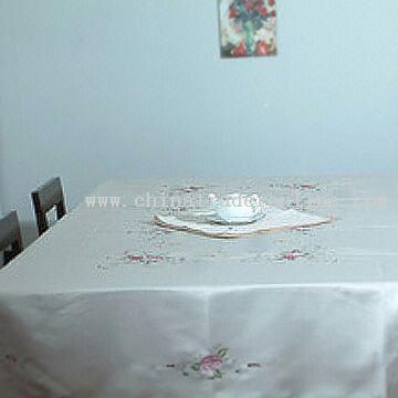 Rose Embroidered Table Linen in Satin Fabric