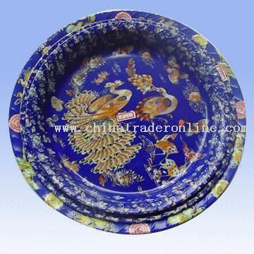Four-piece PP Round Tray Set with Peacock Designs