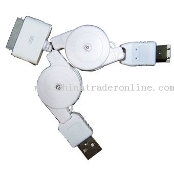 USB & Fireware to iPod Retractable Cable