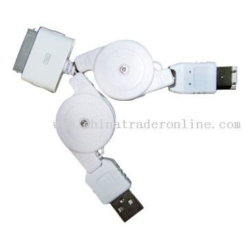 iPod Compatible Twin Retractable Cables