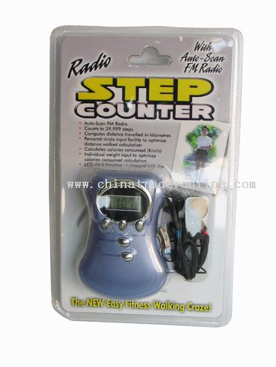 Pedometer with earphone and battery