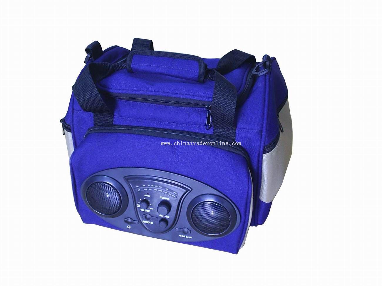 Travelling cooler bag radio