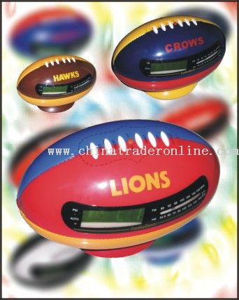 Football Shape AM/FM Clock Radio