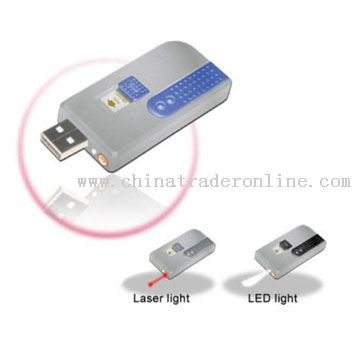 USB Flash with Laser Pointer & led light