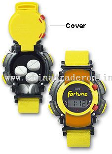 LCD Watch with Plastic Flip-Top Cover