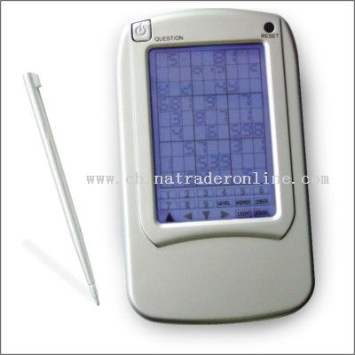 Touch panel electronic sudoku with backlight