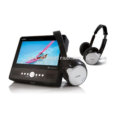 7 TFT PORTABLE TABLET STYLE DVD/CD/MP3 PLAYER WITH FM TRANSMITTER AND TWO WIRELESS HEADPHONES