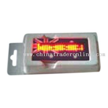 6 Message LED Name Badge (with Flag)