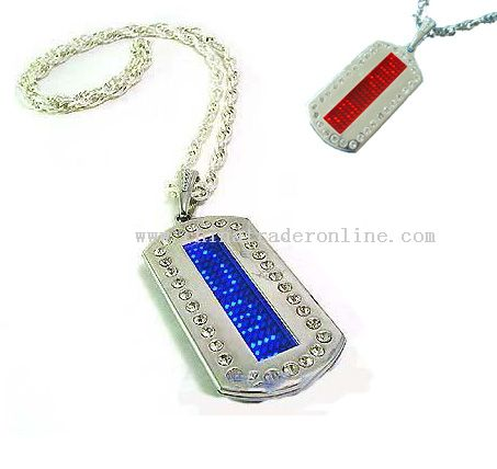 Heart Style RED LED Dog Tag Chain With Rhin