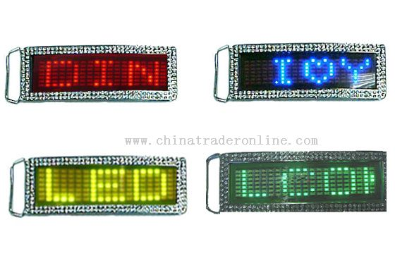 MINI LED LIGHT CHROME NAME BELT BUCKLE/GIFT from China