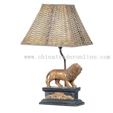 Polyresin Lion Statue Table Lamp