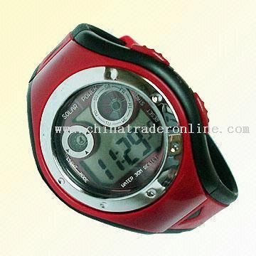 solar watch 88 Ladies Solar Power Sports Watch with Large 4-Side Solar Panel from China