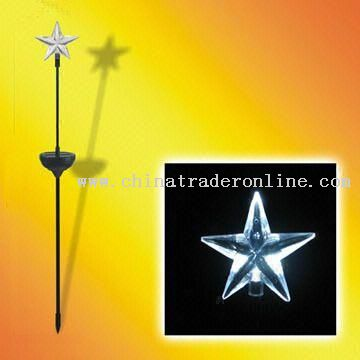 1W Solar Decoration Star Light with Black Painted Iron Pole
