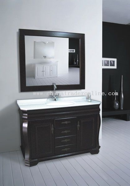 Oak bathroom cabinet with mirror and counter top