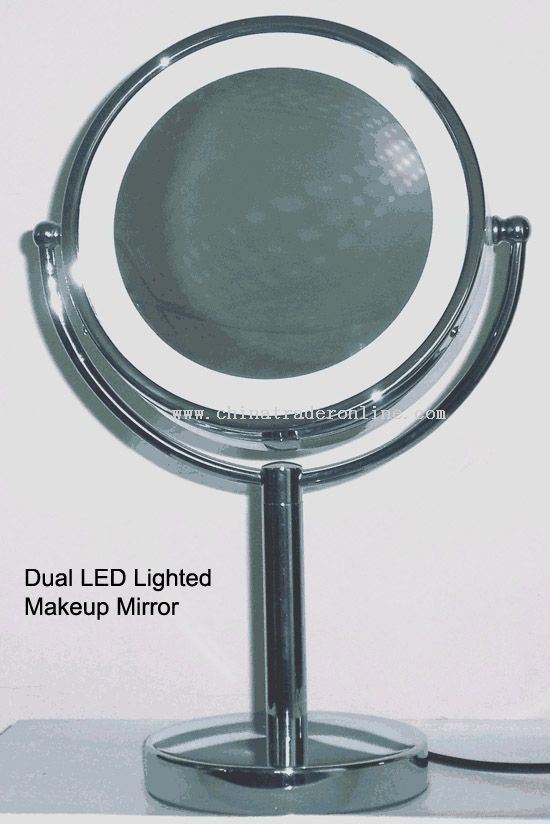 Dual LED lighted makeup mirror