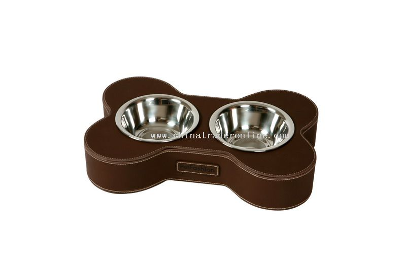 leather pet feeder